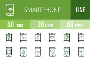 50 Smartphone Line Green&Black Icons