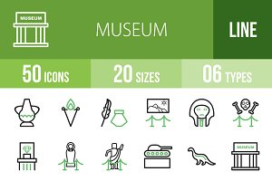 50 Museum Line Green & Black Icons