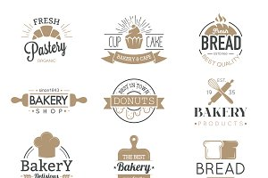 Bakery badges and logo icons vector