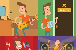Pop star young boy vector