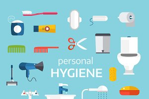 Human body hygiene toolls vector