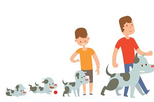 Man family and dog pet vector
