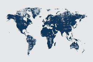 Grunge World map blue vector