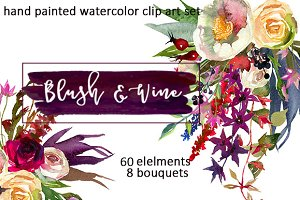 Burgundy White Watercolor Flowers