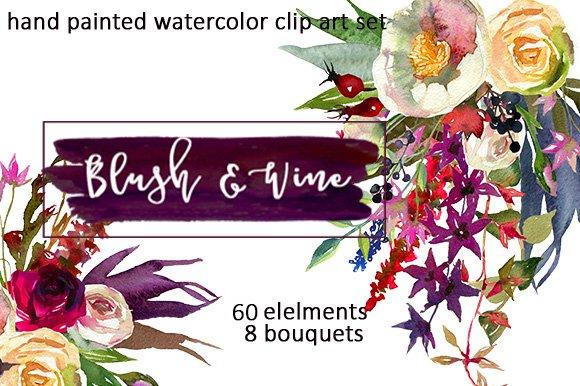 Burgundy white watercolor flowers illustrations creative market burgundy white watercolor flowers illustrations mightylinksfo