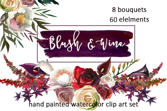 Burgundy white watercolor flowers illustrations creative market mightylinksfo