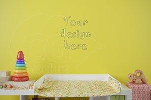 Blank wall nursery room mockup