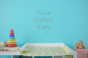 Blank wall baby room mockup