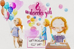 8 watercolor girls