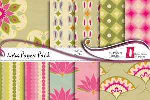 Pink Lotuses Digital Papers