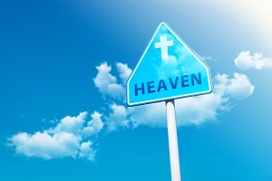 Road Sign with word:Heaven & Cross