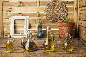 Flavored olive oils set