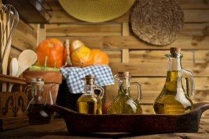 Olive oils rustic cruets