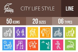 50 City Life Line Multicolor Icons