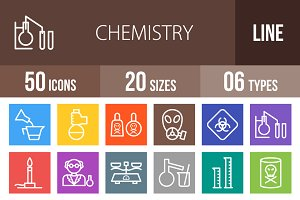 50 Chemistry Line Multicolor Icons