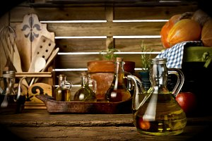 Olive oils in rustic kitchen