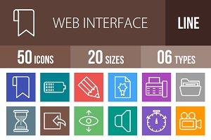 50 Web Line Multicolor Icons