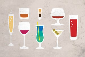 Alcohol Glasses Vector + FREE Poster