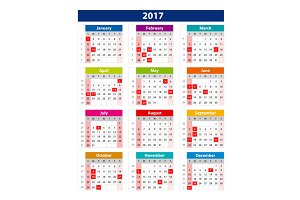 2017 Calendar holidays USA