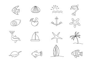 Nautical icons vector set