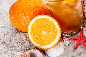 Cold orange tea