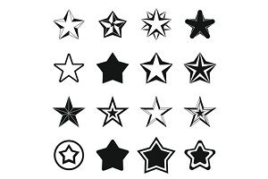 Star icons set, simple ctyle