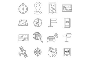 Navigation icons set, outline ctyle
