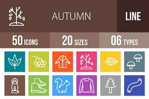 50 Autumn Line Multicolor Icons