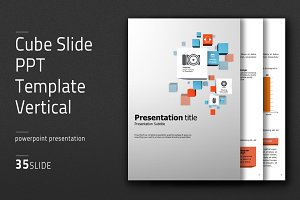 Cube Slide PPT Template Vertical