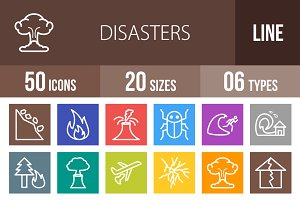 50 Disasters Line Multicolor Icons