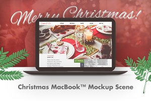 Christmas MacBook™ Mockup Scene