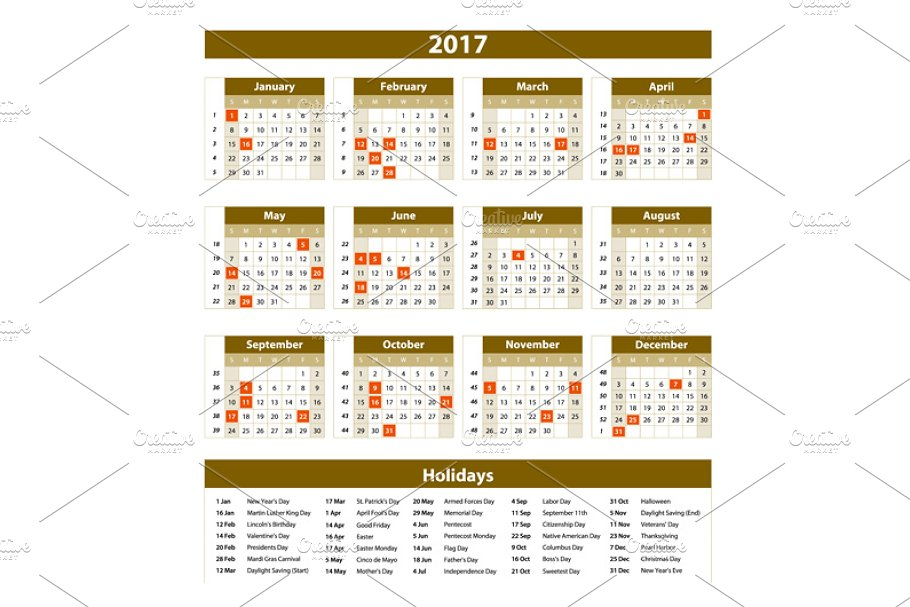Calendar 2017 set 12 month on brown