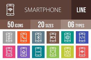 50 Smartphone Line Multicolor Icons