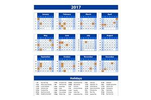 blue 2017 Calendar vector