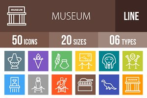 50 Museum Line Multicolor Icons