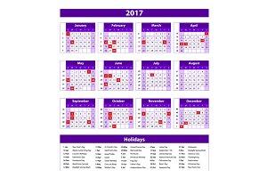 Paper Style 2017 Full Calendar