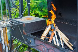 Closeup shot of open camping fire for barbecue