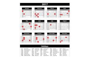 2017 calendar planner vector