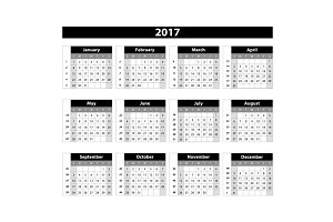 Calendar 2017 on white background