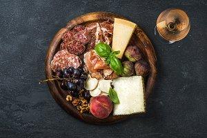 Italian antipasti snacks & rose wine