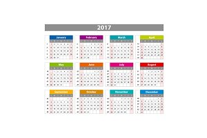 2017 Calendar of color vector