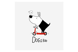 Dog & Bird in scooter
