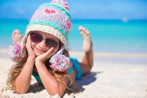 Portrait of adorable little girl on summer vacation