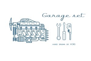 Garage set. Vector icons car parts.