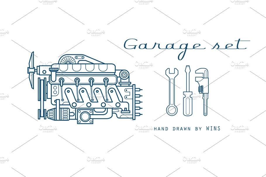 Garage Set Vector Icons Car Parts Illustrations Creative Market