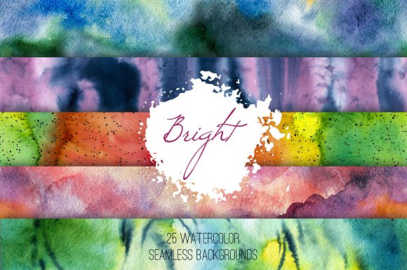 Bright set: watercolor patterns in Patterns
