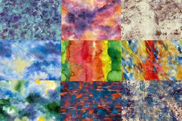 Bright set: watercolor patterns in Patterns - product preview 2