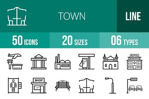 50 Town Line Icons