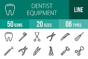 50 Dentist Line Icons