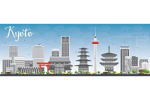 Kyoto Skyline with Gray Landmarks